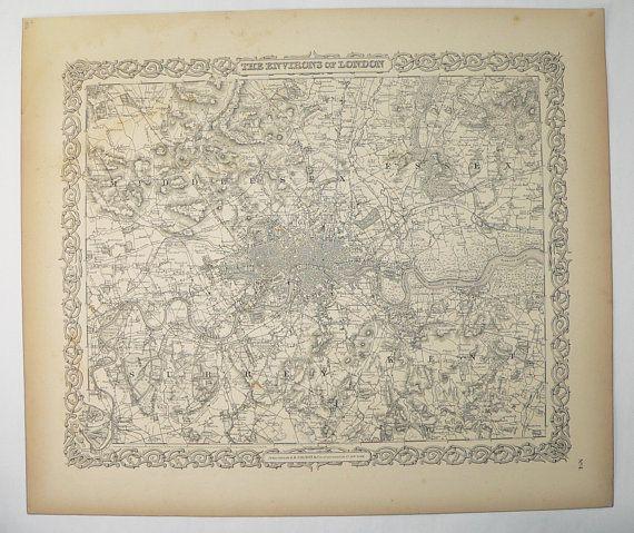 Antique Map of London England Original 1856 Colton London ...