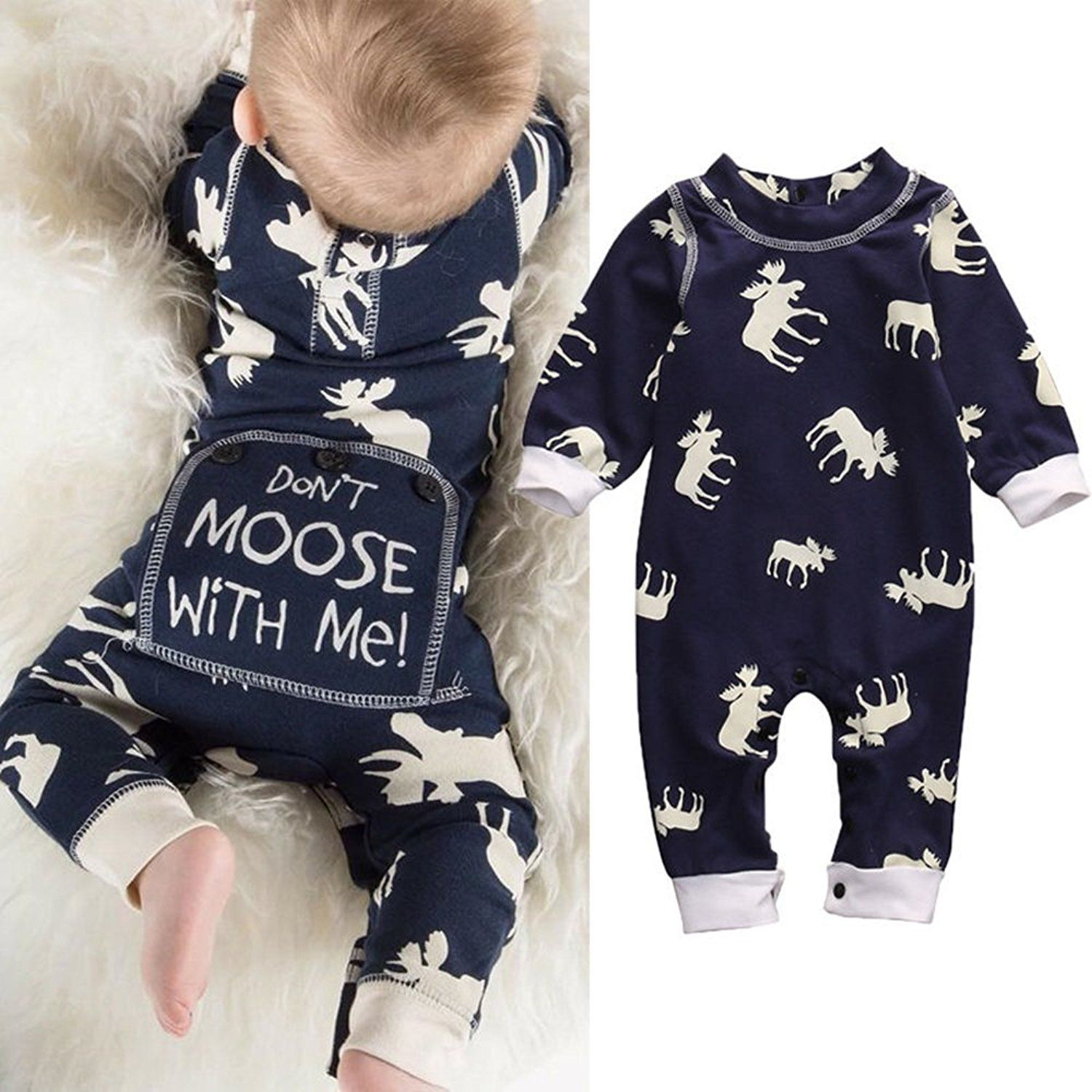 e8ab4701afb2 Amazon.com  Aliven Toddler Infant Baby Girl Boy Long Sleeve Deer Romper  Jumpsuit Pajamas Xmas Outfit  Clothing