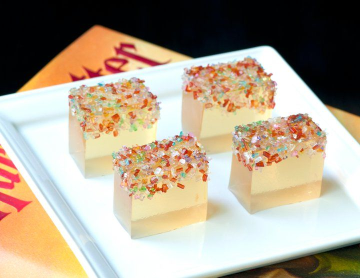 Champagne jello shots with sparkly sprinkles