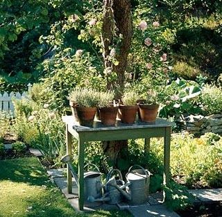 potting table and zinc watering cans