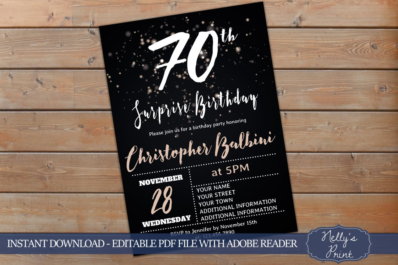 70th Surprise Birthday Invitation, Adult Birthday Invitations ...
