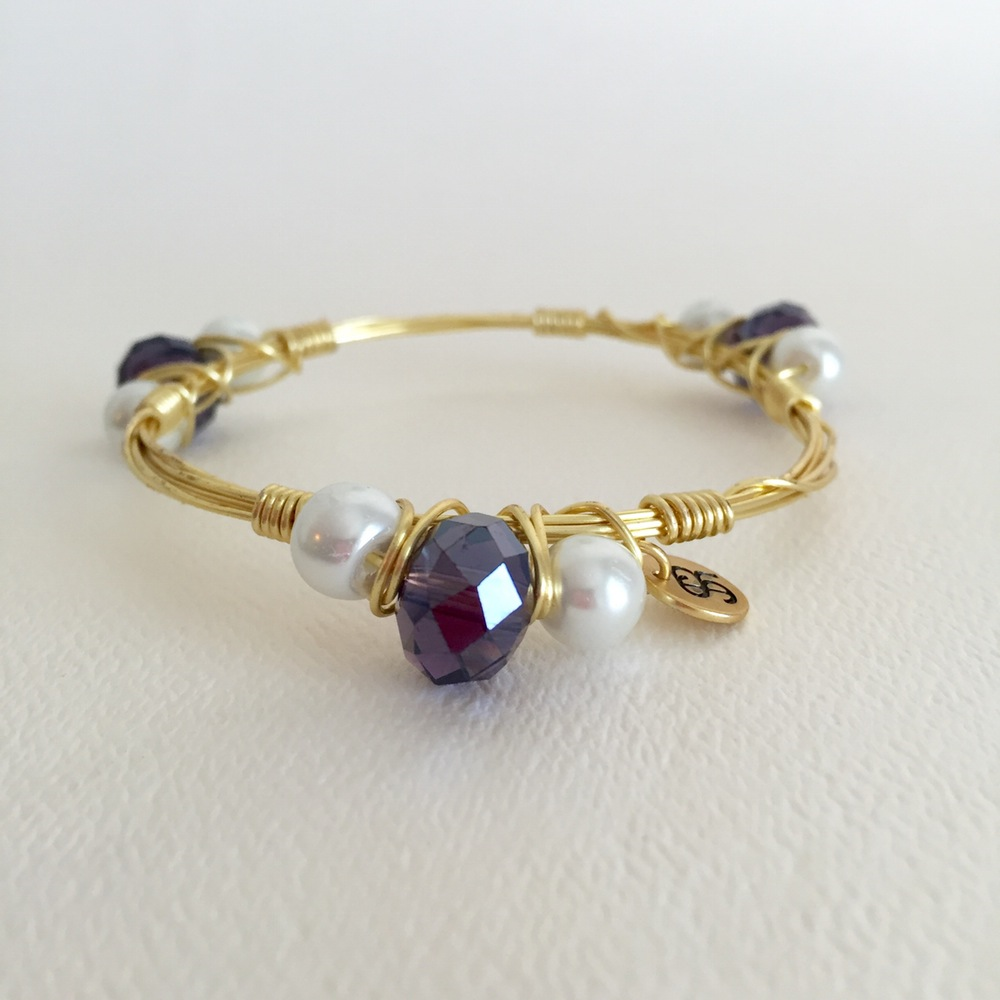Amethyst Swarovski & Pearl Gold Wire Bangle . . Wire wrap bangles ...