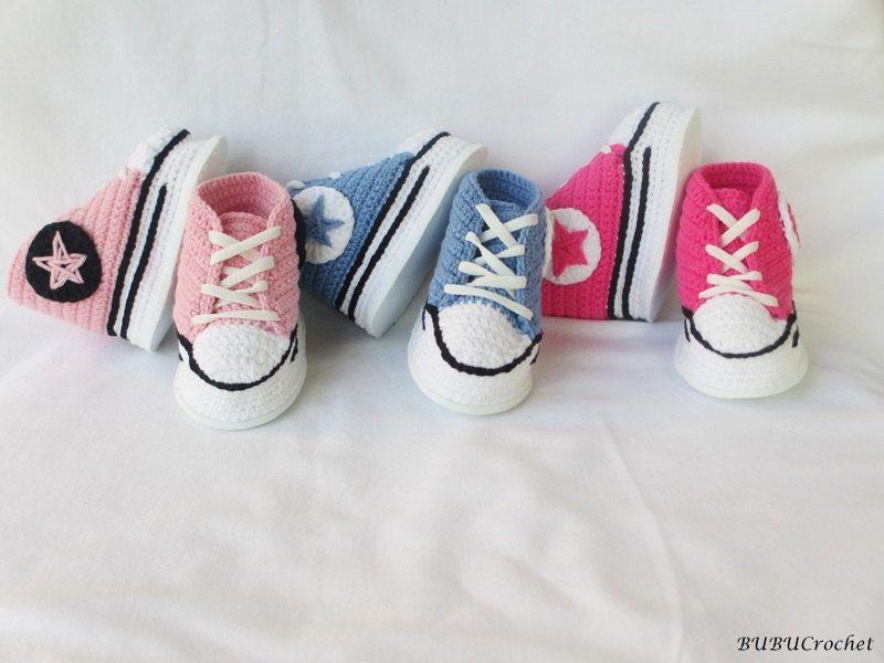 Sneakers Baby Converse Crochet, Crochet Baby Shoes, Crochet Baby ...