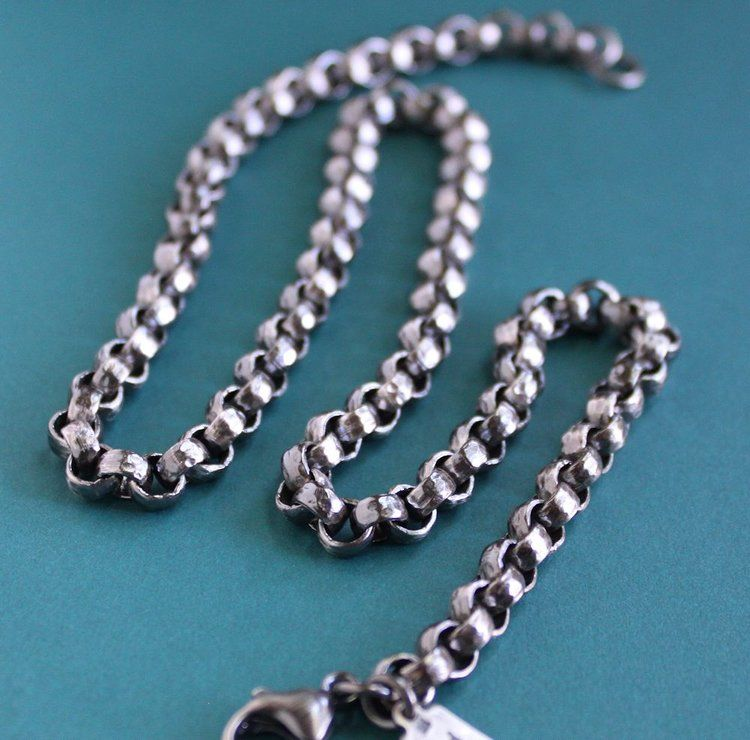 Men S Heavy Sterling Silver Rolo Chain Necklace Mens Silver Necklace Silver Chain For Men Silver Chain Necklace