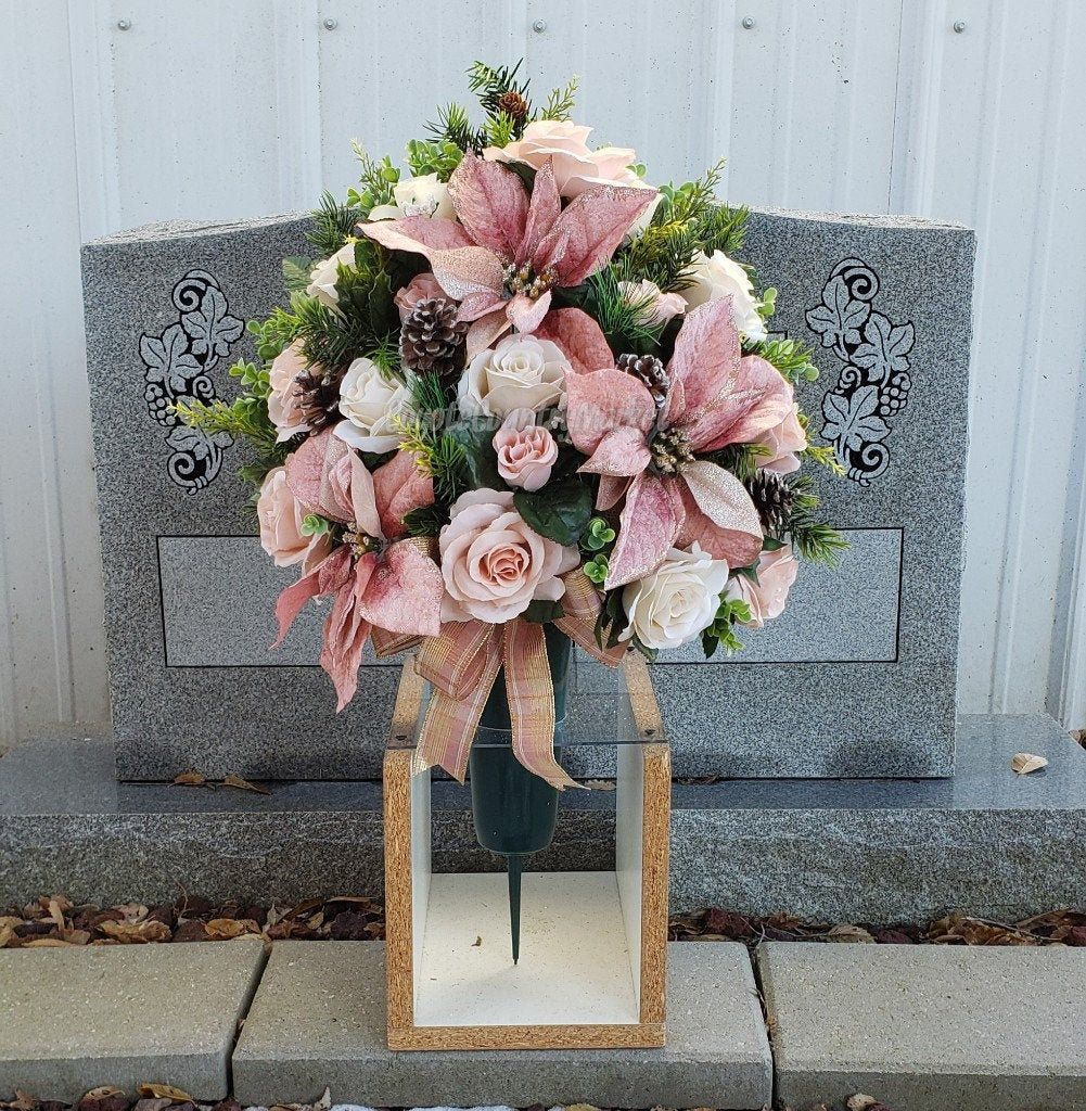 Christmas Cemetery Ground Vase With Stake Christmas Grave Flowers Cemetery Vase With Ground Stake 1 2 Vase Arran Cemetery Flowers Memorial Flowers Flower Vases