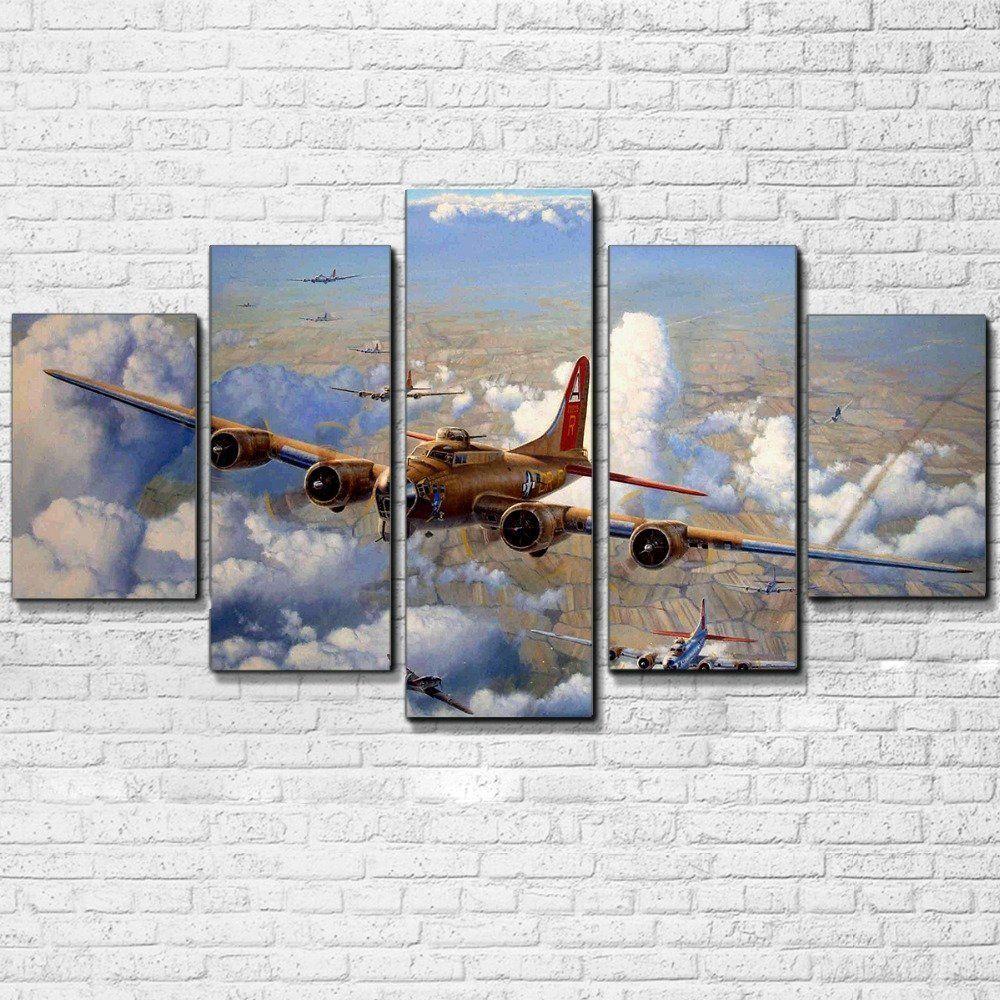 5 Panel Print Decor Vintage Airplane Canvas Set Retro Air Plane Wall Art Canvas Jet Aircraft C Customized Canvas Art Canvas Art Wall Decor Airplane Wall Art