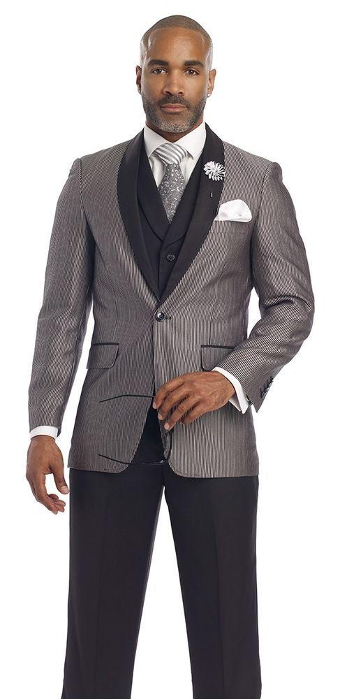 d1456bec5df New EJ Samuel Black White Tuxedo 3 Pc Mens Suit M2697 Style  Jacket+Vest+Pants