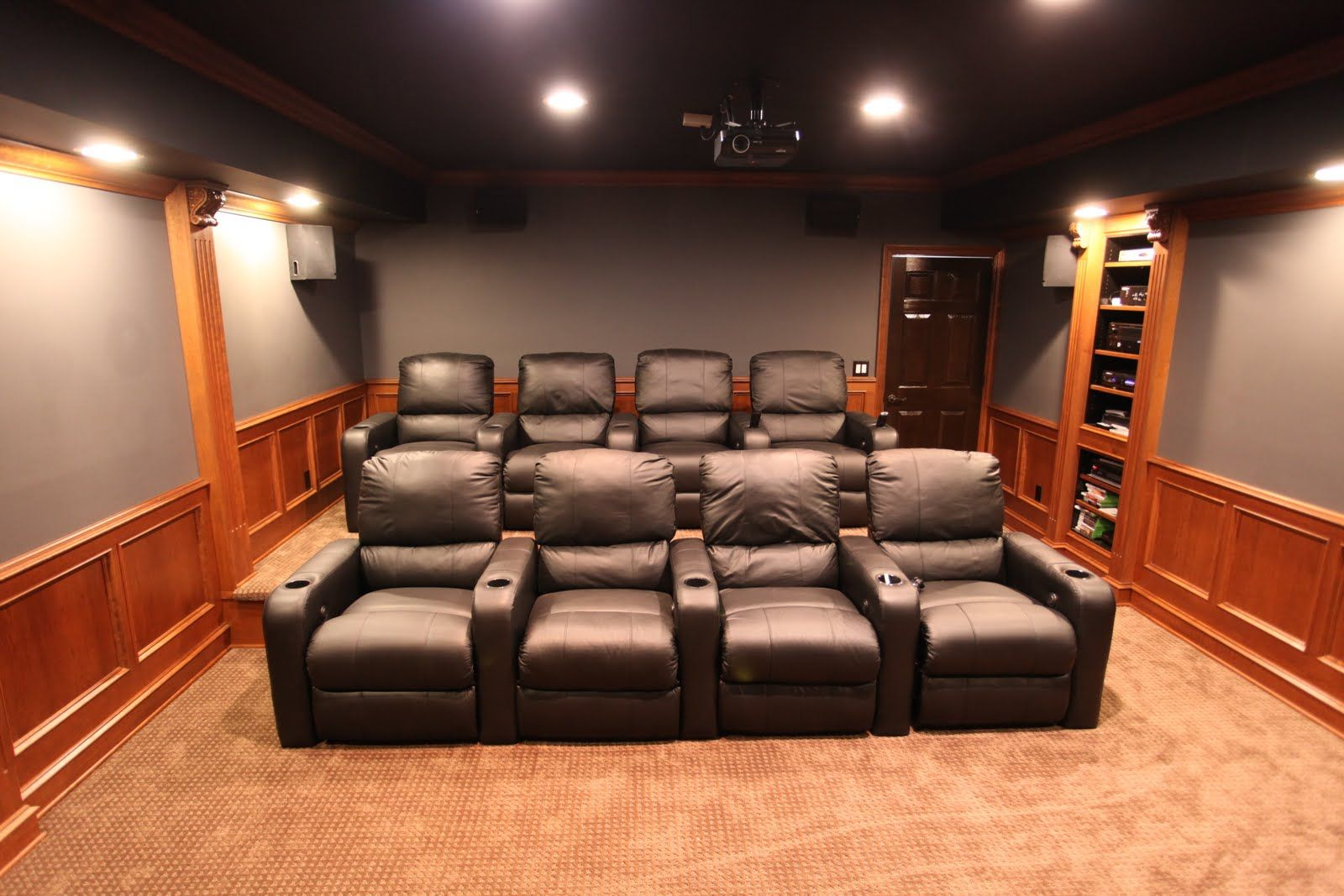 Theatre room seats 106 screen with new platform basement theater rooms ideasbeauteous others cozy home theater room design idea with black sofas gray wall and brown rug cozy home theater room design ideas amipublicfo Images