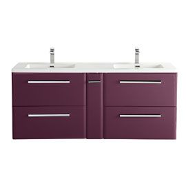 meuble salle de bain double vasque aubergine
