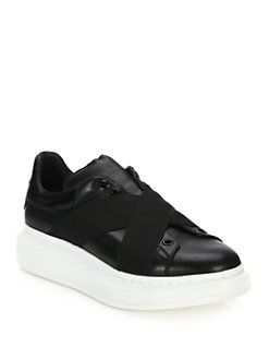 Alexander McQueen - Criss-Cross Chunky Leather Sneakers