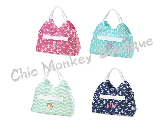 Large Mod Print Beach Bags in 4 Pretty Colors with FREE Personalization by Chic Monkey Boutique, $29.95