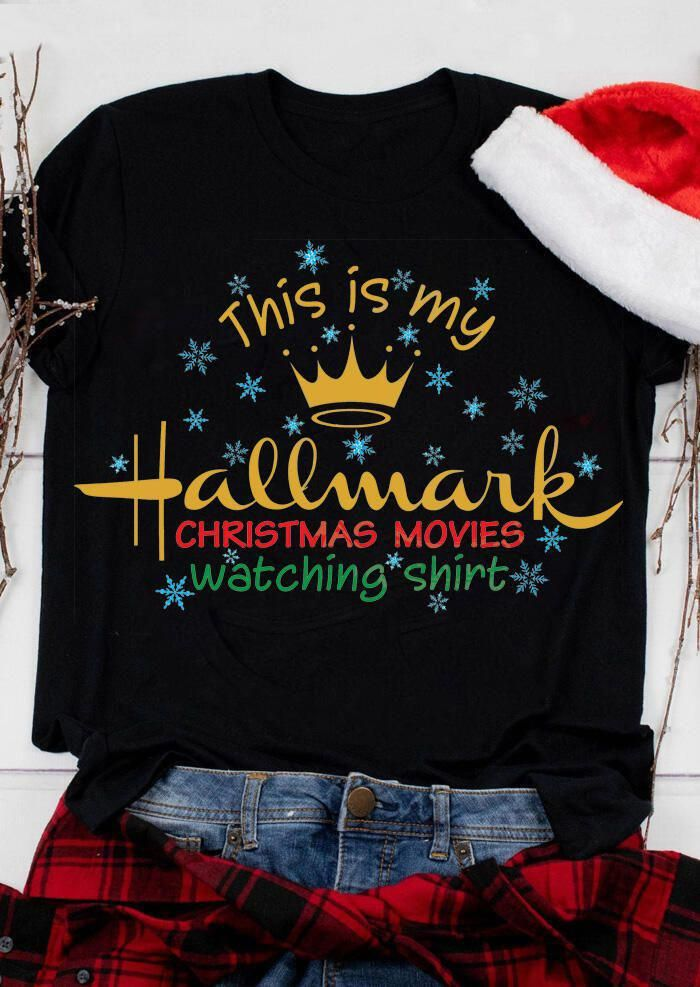 This Is My Hallmark Christmas Movies Watching T-Shirt Tee - Black , price : 5.99 ,  get the latest fashion clothing online at #ootdable with amazing prices & free shipping. # #T-shirts #christmasmovies