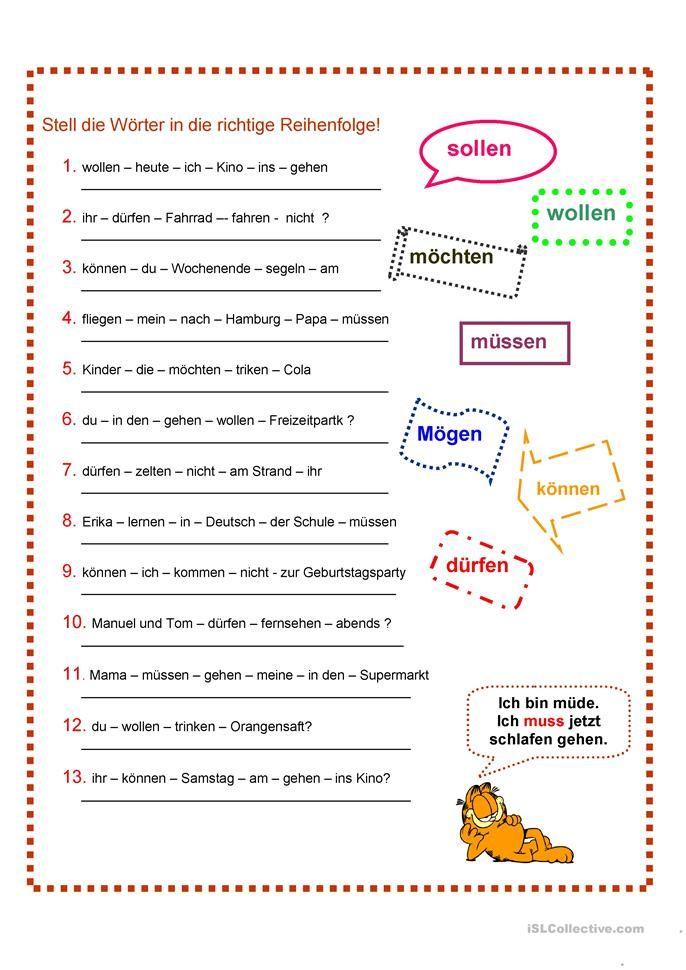 Modalverben | Pinterest | Modalverben, Deutsch und Arbeitsblätter