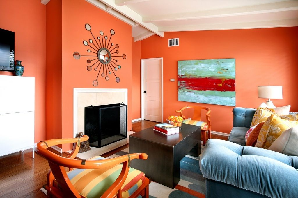 Orange Paint Colors For Living Room beautiful orange color - with the contrast of blue | trend: orange