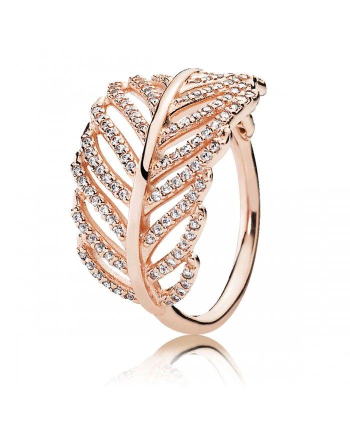 Pandora Bague Plume Scintillante Rose 180886CZ | Pandora feather ...