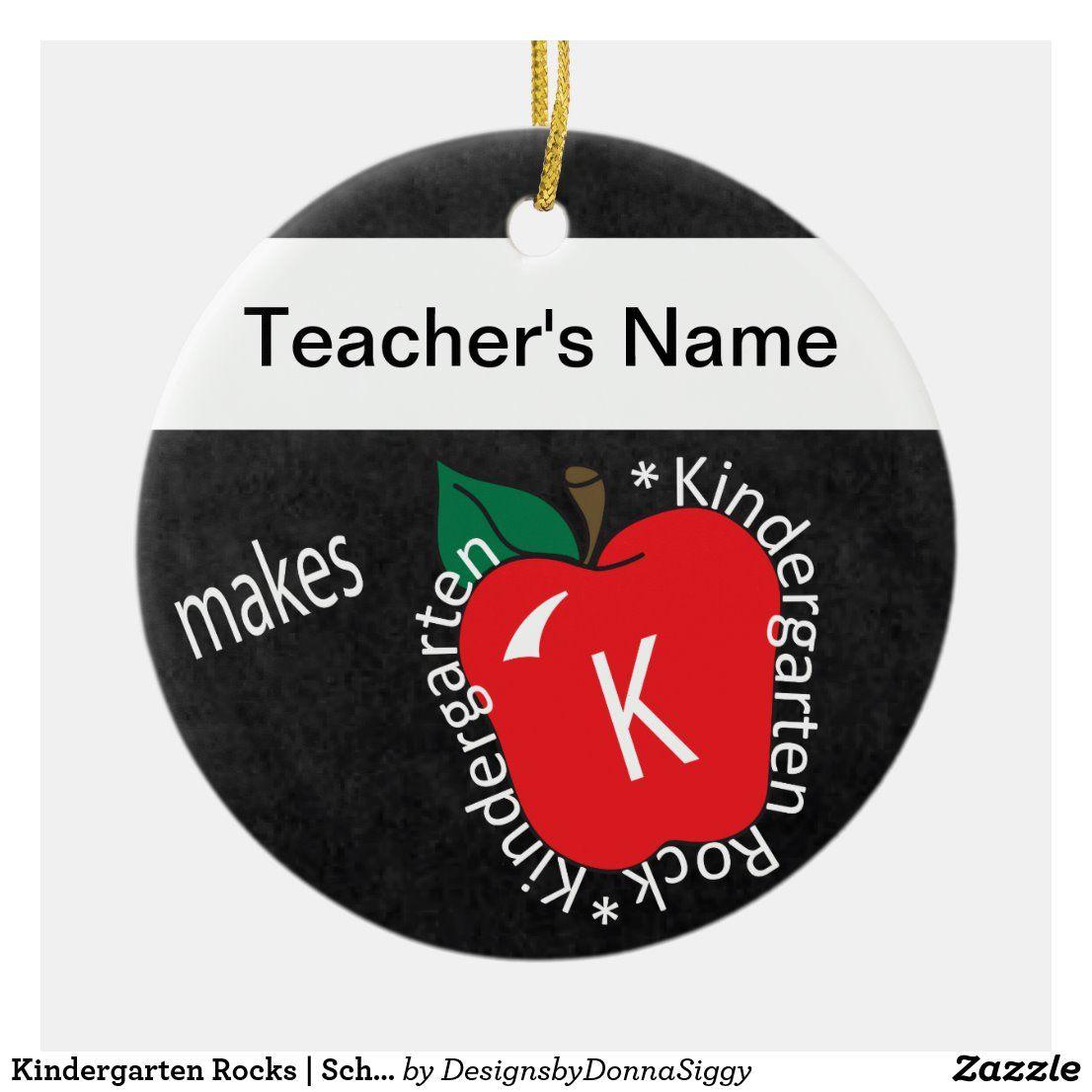Kindergarten Rocks | School Teacher | Chalkboard Ceramic Ornament | Zazzle.com