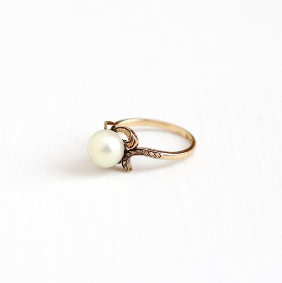 Vintage 14k Rosy Yellow Gold Cultured Pearl Solitaire Ring - Size 6 1/4 Art Deco 1930s Etched Leaf Vine Fine June Birthstone Jewelry