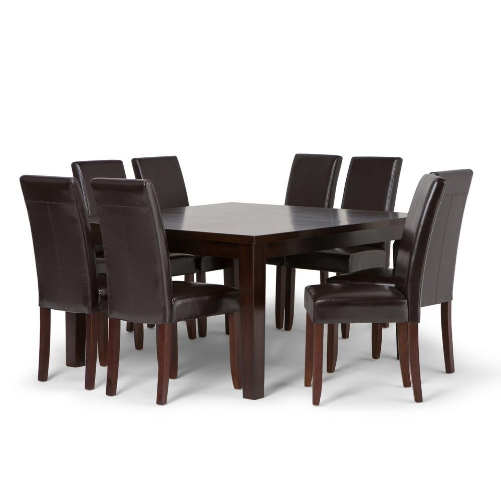 Simpli Home Acadian 9 Piece Dining Set With 8 Upholstered Parson Chairs In Tanners Brown Faux Leather And 54 In Wide Table Axcds9 Aca Br The Home Depot Simpli Home Dining Room Furniture Sets