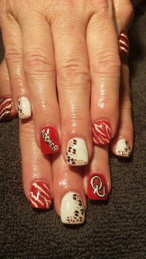 Boomer Sooner nail art inspired by christi watson | Sports ...
