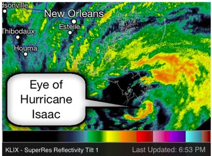 Hurricane Isaac radar loop at landfall. Winds were
