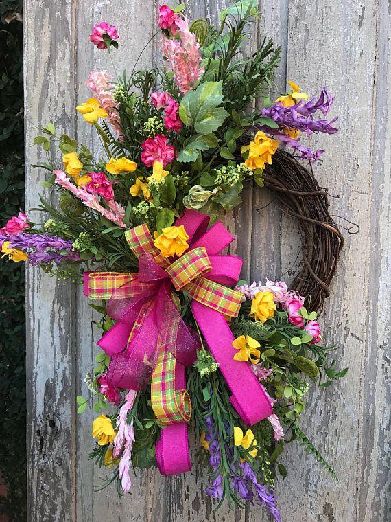Photo of Spring Wreath, Spring wreath for door,Wildflower Wreath, Summertime Wreath, Spring Wreath, Front Door Wreath, pink wreath,Mothers day Wreath