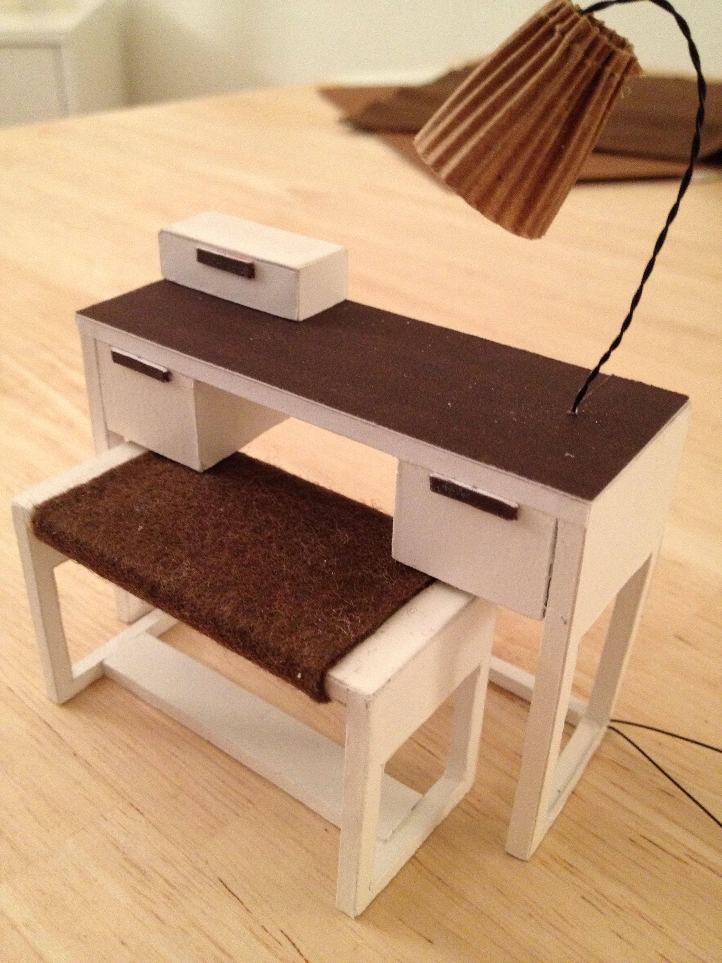 Dressing table with lamp made from foamboard | Barbie Doll ...