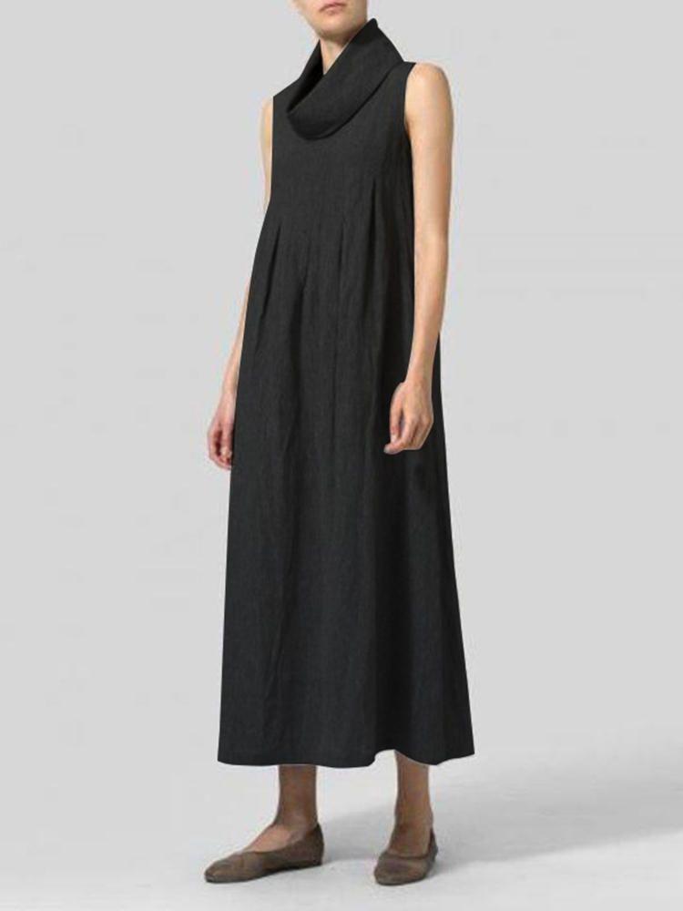709c0991b49 Women Cotton Loose Solid Color Sleeveless Turtle Neck Dress - Banggood  Mobile