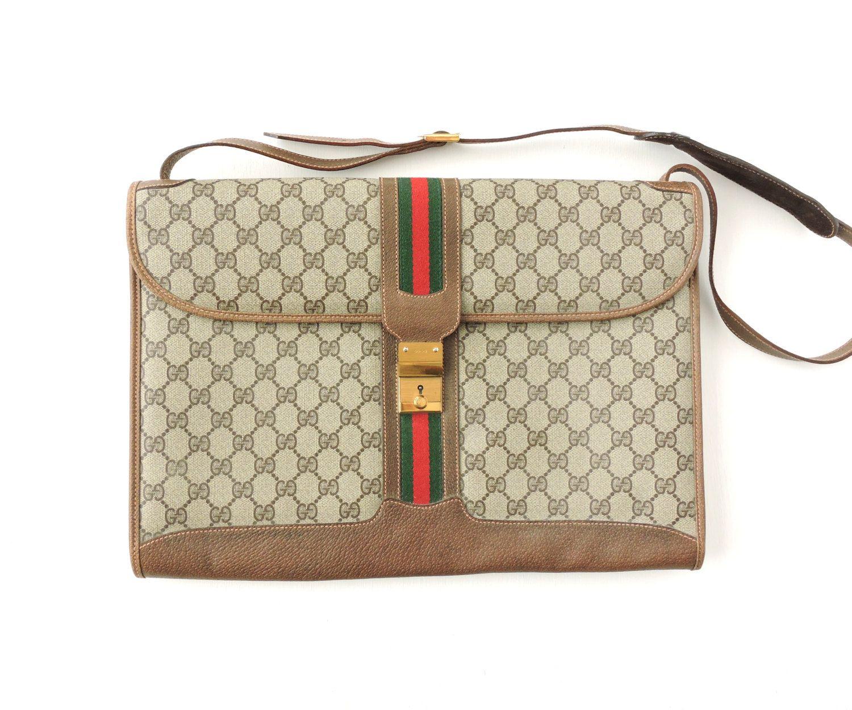best website 0a3be c7d85 Authentic Vintage Gucci Briefcase, Brown Gucci Attache Case, Tan ...