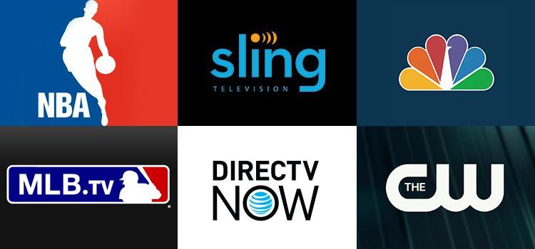 Grid of apps (NBA, Sling TV, NBC News, MLB.TV, DIRECTVNOW