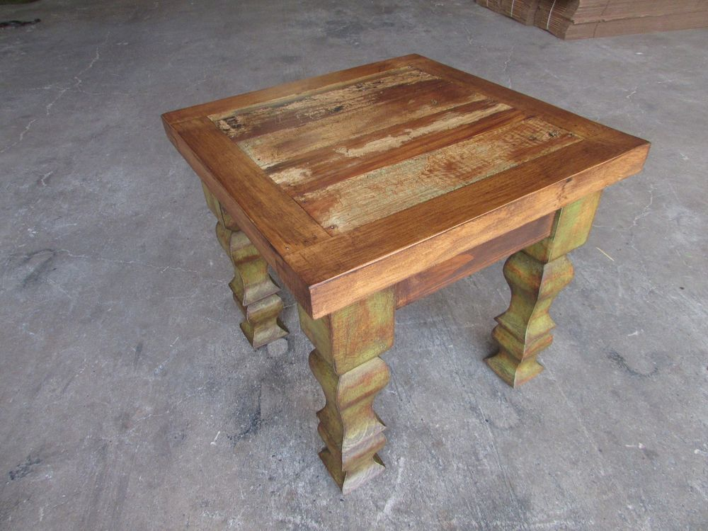 Rustic End Table Mexican 18x18x22 Furniture Primitive Old Door