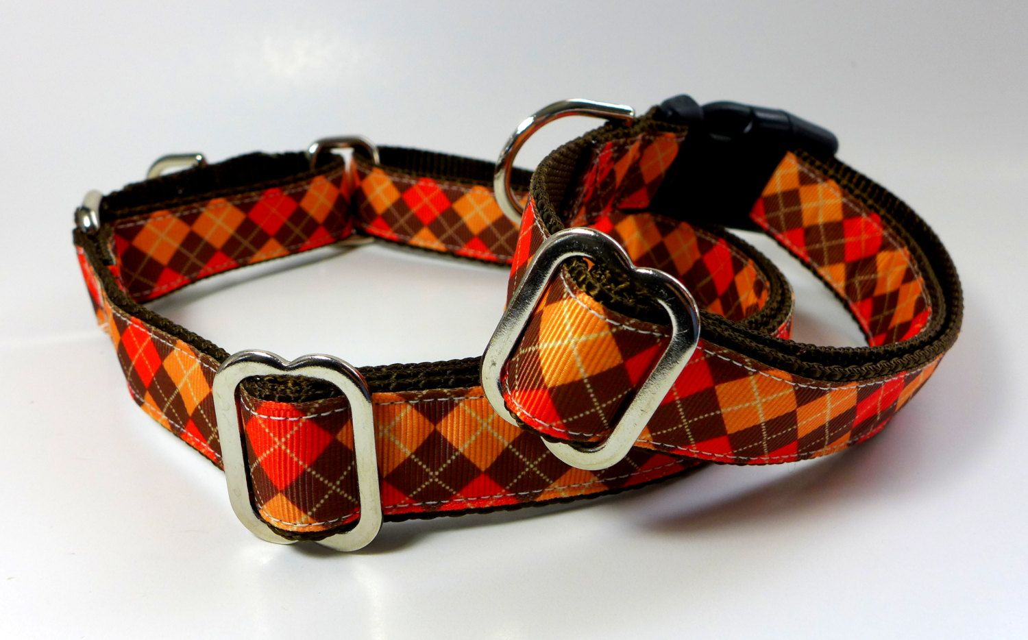Fall colors dog collar 1 wide orange and brown argyle