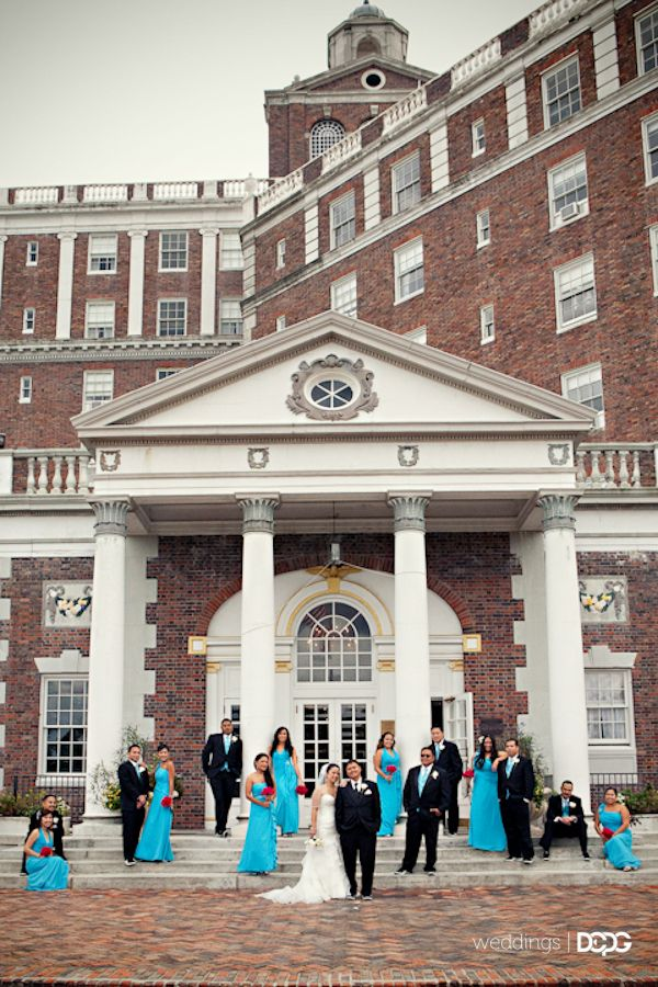 Wedding Entourage In Front Of The Cavalier Hotel In Virginia Beach