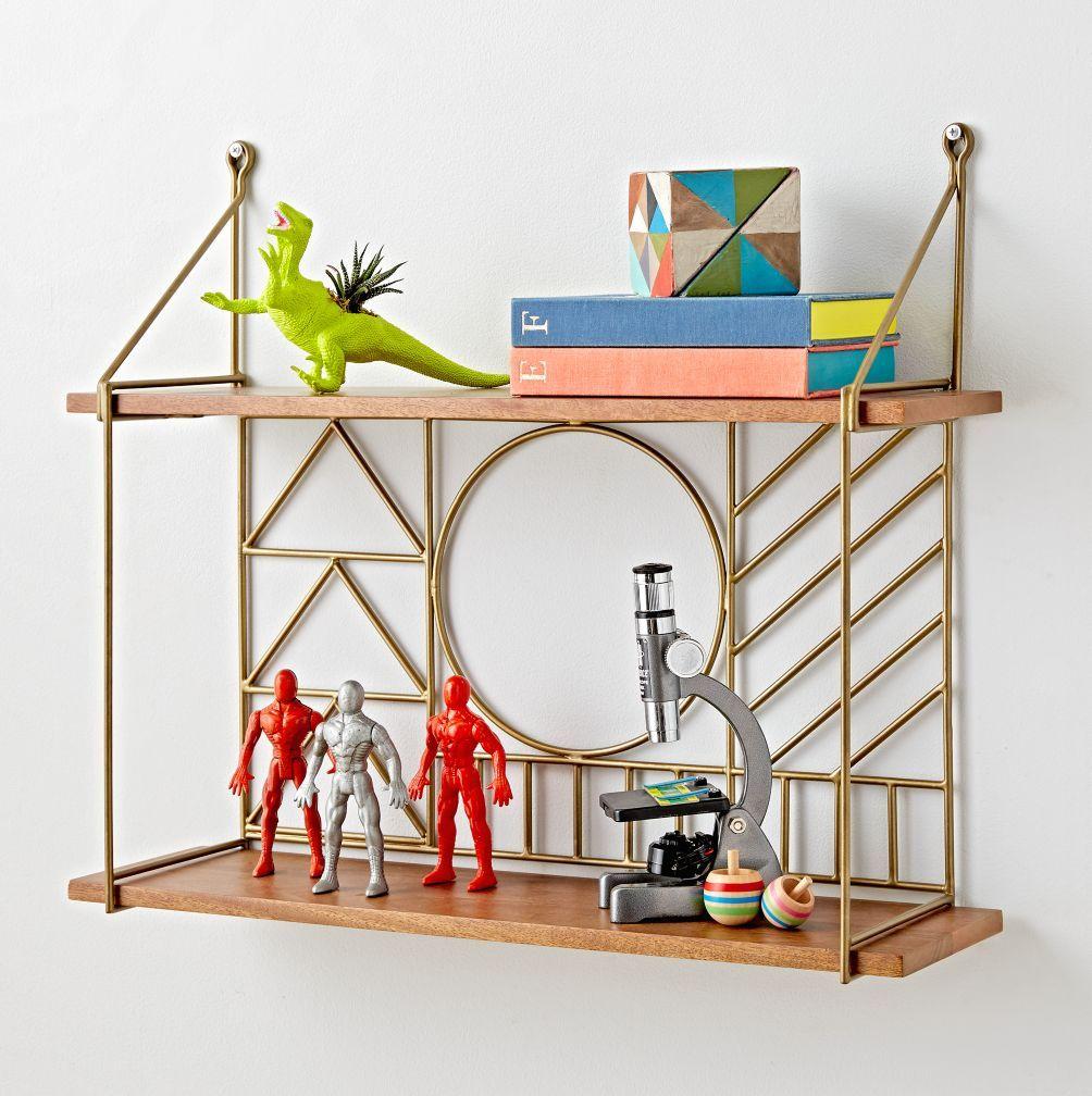 Shop Geometric Metal Wire Wall Shelf. Natural mango wood shelves and ...