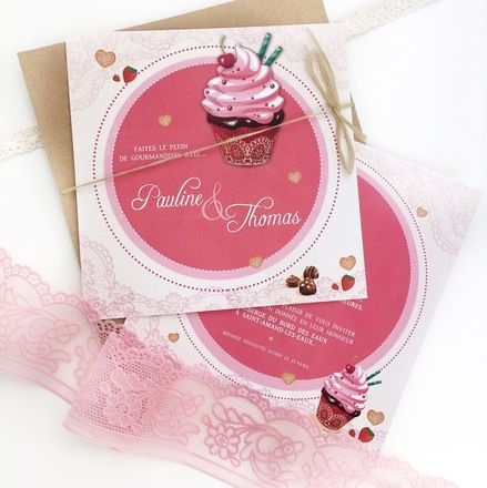 Faire Part Mariage Gourmandise Cupcake Rose Faire Part Lesmotsinspirants Fairepart Mariage Gourmand W Pink Invitations Cupcake Invitations Wedding Cards