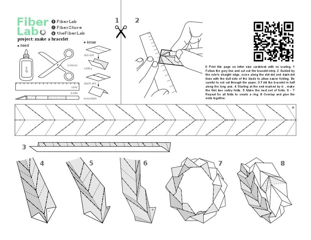 diagram origami bracelet 2008 ford f250 ignition wiring get inspired diy fun from fiberlab lab paper and kirigami fabric