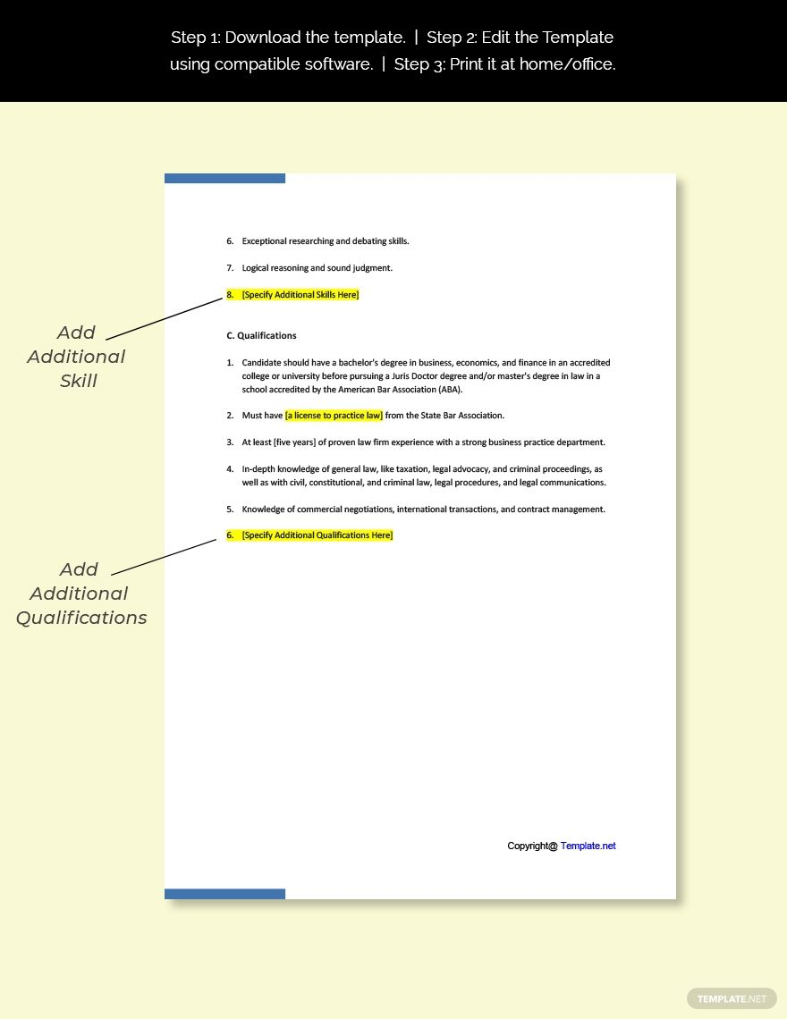 Business lawyer job ad and description template free pdf