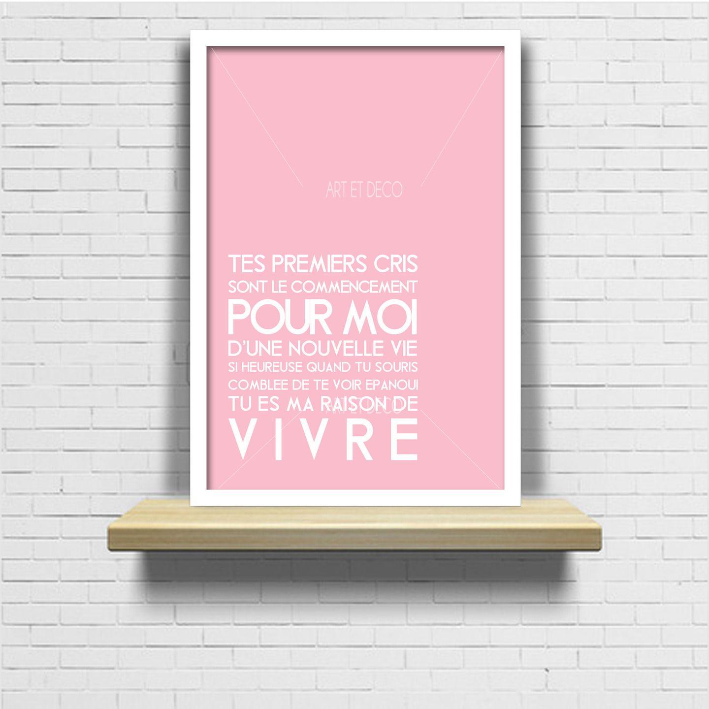 poster b b citation maman naissance anniversaire cadeau original et design d corations. Black Bedroom Furniture Sets. Home Design Ideas