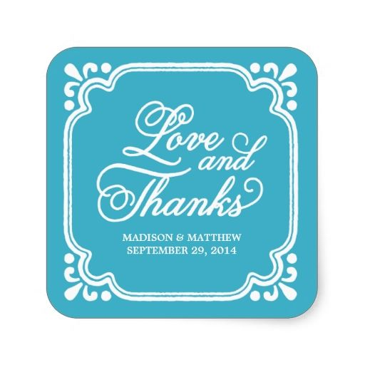 Rustic Love and Thanks | Wedding Favor Labels Sticker