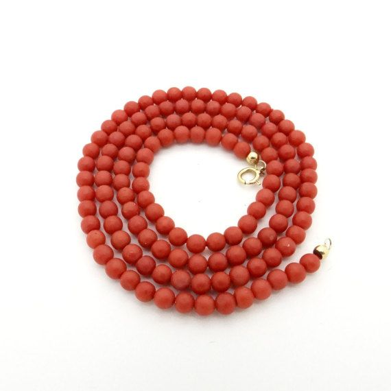 5a9e111570ec1 Natural Red Coral Bead Necklace with 18K Gold Clasp - 19 Inch / 49 ...