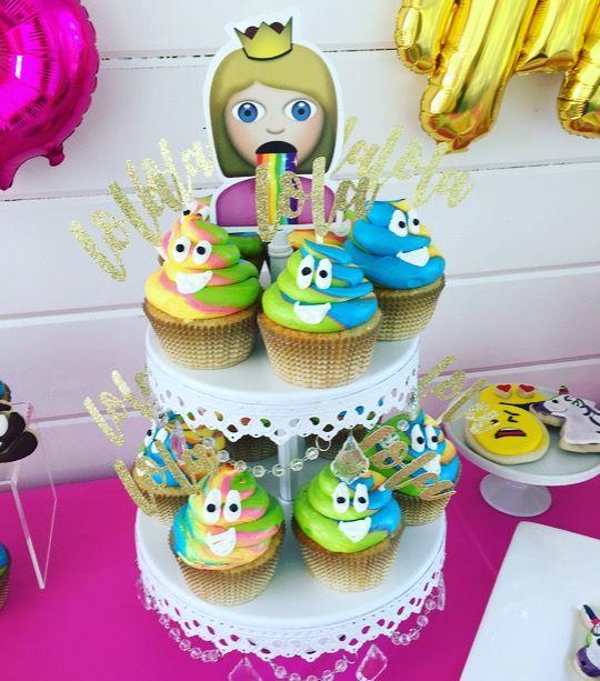 Emoji Rainbow Poop Cupcake Display.