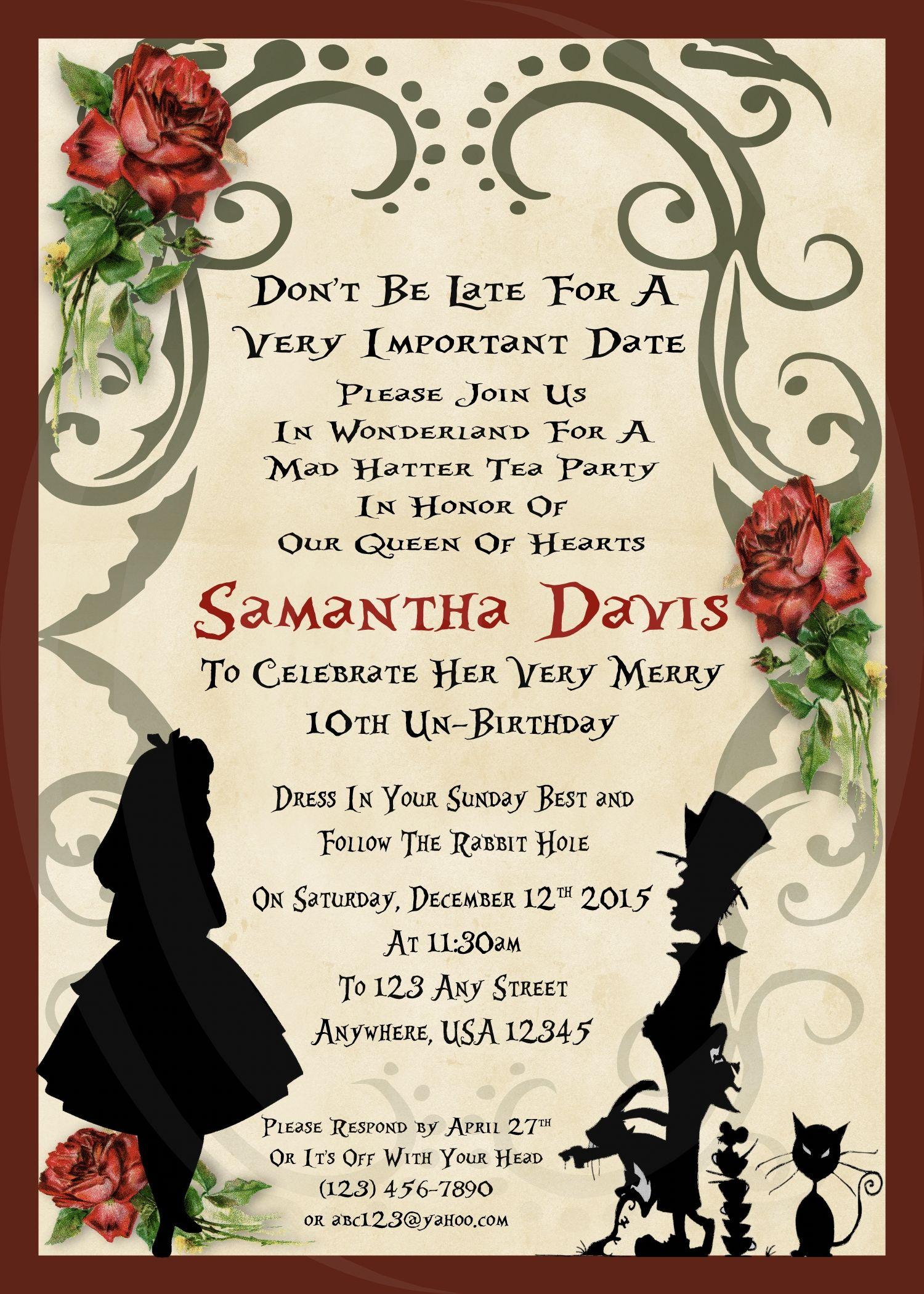 Alice in Wonderland Birthday Party Invitation - Silhouette Design ...