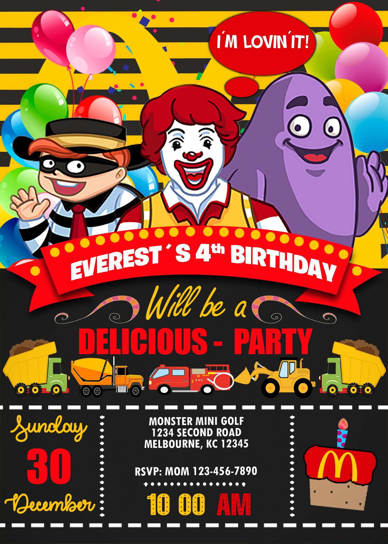 Ronald McDonalds Birthday Invitation - oscarsitosroom  Mcdonalds