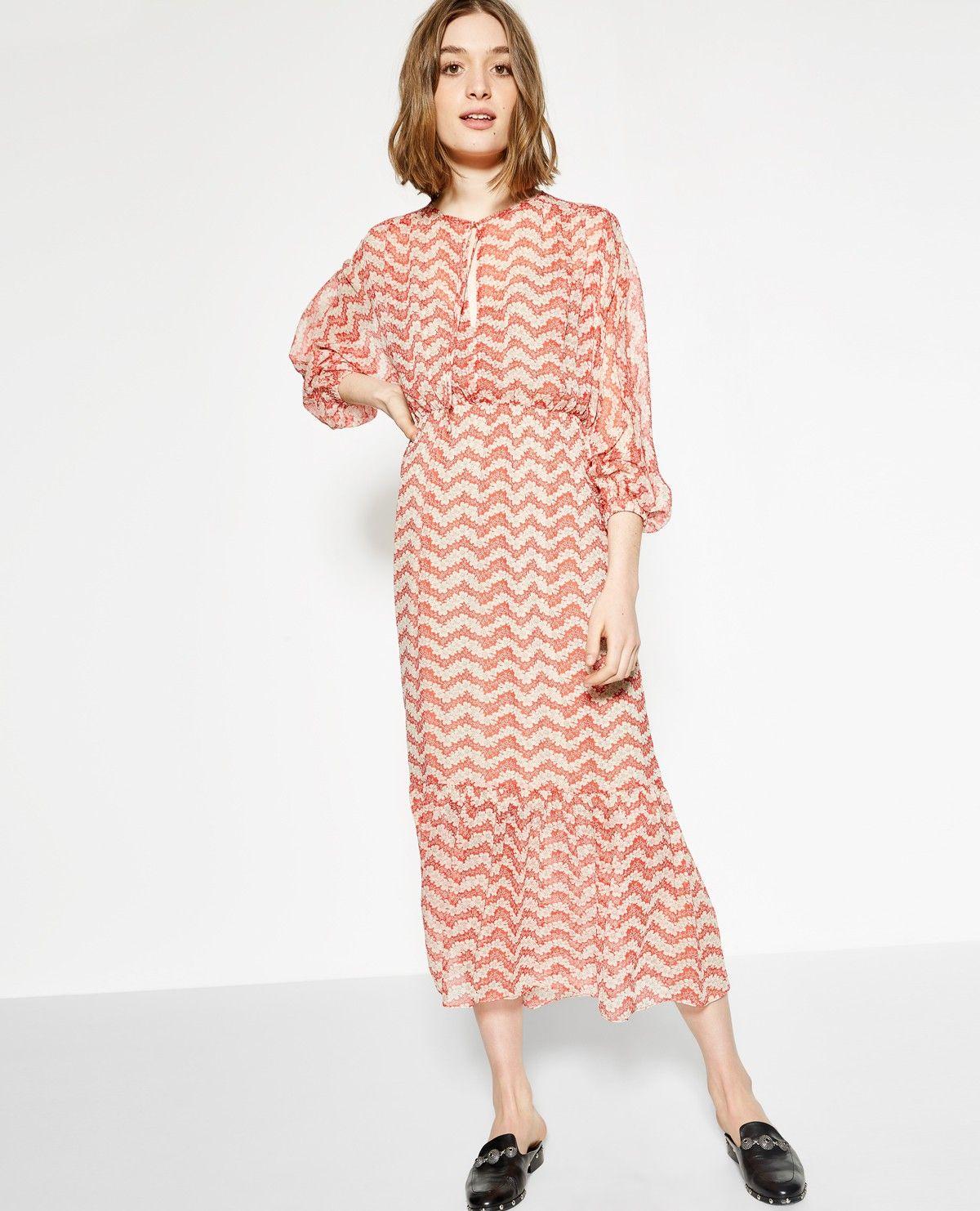 5b1c030a795 Long Red Jasmine print silk dress - THE KOOPLES WOMAN | My Style ...