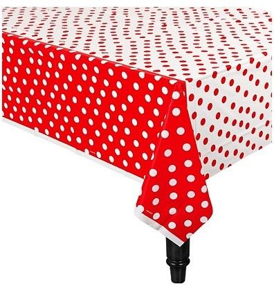 """Red Polka Dot Table Cover 