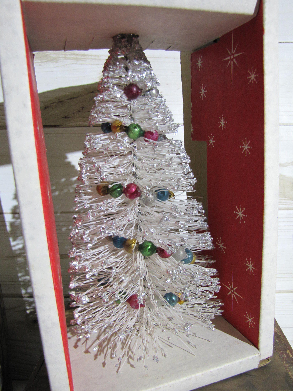 Vtg 7 Bottlebrush Christmas Tree Mercury Bead Garland Mica Glitter Wood Base Bottle Brush Christmas Trees Tree Garland Christmas Tree