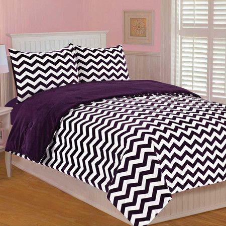 Chevron Twin Bedding Set in Plum Purple | \