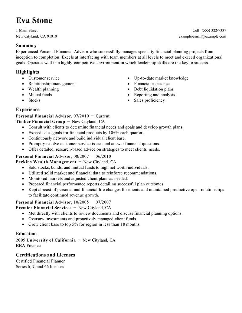 Finance Examples Collections Financial Advisor With Resumes Intern