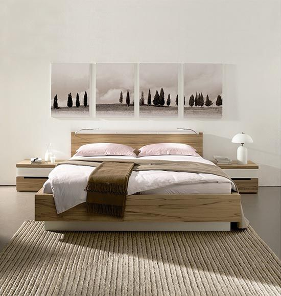 Light Wood Bed Frame Bedroom Interior Contemporary Bedroom