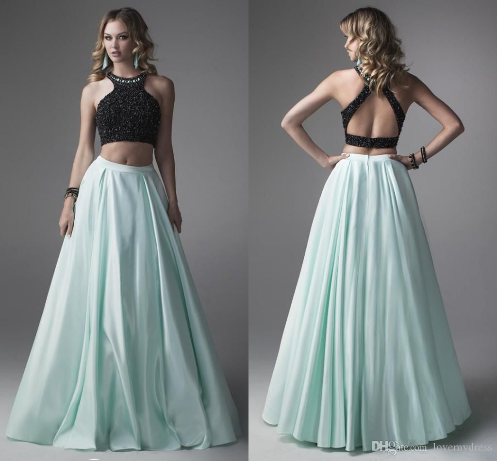 Black And Blue Satin Two Pieces Prom Dresses 2016 Halter Collar ...