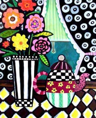 KITCHEN ART PRINT  Teapot Art Black and White by HeatherGallerArt, $16.00
